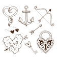Collection of sketch elements vector image