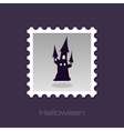 Halloween witch castle silhouette stamp vector image