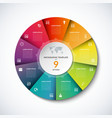 infographic circle template with 9 steps vector image
