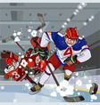 funny cartoon hockey players play hockey vector image