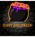 Happy halloween greeting card with cauldron and vector image