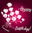 magnolia frame for birthday greeting card vector image