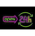Neon Sign Open Round the Clock on Black Background vector image