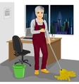 Senior cleaning woman mopping floor in office vector image