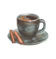 watercolor with cup of coffee vector image