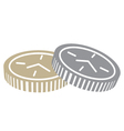 Coins with clock face vector image