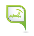 Green map pointer with beach chair icon vector image
