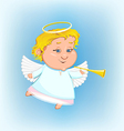 beautiful angel with a pipe vector image