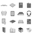 Book icons set black monochrome style vector image
