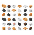 cardboard boxes color set isometric view vector image