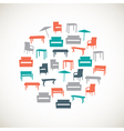 Colorful furniture icons - outdoor vector image