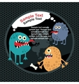 Cute monsters banner and bone vector image
