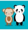 cartoon animal monkey panda plush stuffed design vector image