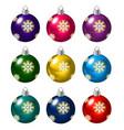 set of christmas balls on white background vector image