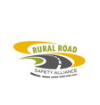 icon of rural road for safety alliance vector image vector image