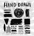 set of grungy ink textures brush and banners hand vector image