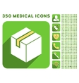 Package Icon and Medical Longshadow Icon Set vector image