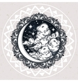 Intricate hand drawn crescent moon vector image
