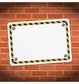 Blank Banner on Brick Wall vector image