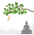 buddha statue and bodhi tree with golden bell of vector image