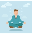 businessman meditating in flat style vector image