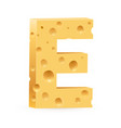 cheese font e letter on white vector image