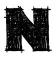 N - hand drawn character sketch font vector image