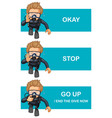 different hand gestures for scuba diving vector image vector image