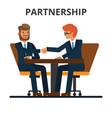 business partnership businessmen handshake vector image