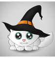 Cute kitty in a witch hat vector image