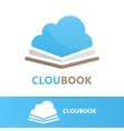 book and cloud logo concept vector image