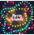 Cozy Christmas lights garlands greeting card vector image