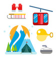 winter sport icons set ski gondola vector image