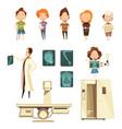 bone injury x-ray cartoon icons collection vector image