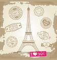 Hipster or vintage postcard background - eiffel vector image