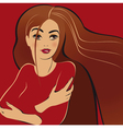 girl on red vector image