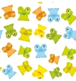 Cute Cartoon funny frog set yellow green blue vector image
