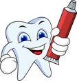 Tooth cartoon with tooth paste vector image