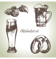 Oktoberfest set of beer hops and pretzel vector image