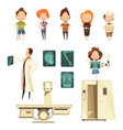 bone injury x-ray cartoon icons collection vector image