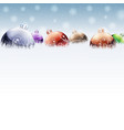 Christmas color baubles on snow vector image