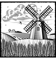Landscape with windmill black and white vector image