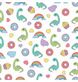 pattern with dinosaurs and food vector image