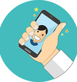 Power of selfie concept Flat design Icon in vector image