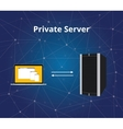 private server with server and laptop vector image