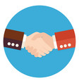 Two Businessmen Partnership Flat Circle Icon vector image