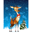 Christmas card with reindeer and Christmas tree vector image vector image