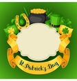 Saint Patricks Day greeting card Flag pot of vector image vector image