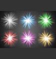 glowing lights set colorful transparent bursts vector image