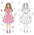 coloring book doll vector image